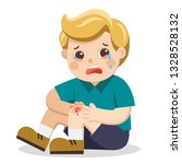 a boy holding painful wounded... | Shutterstock .eps vector #1328528132