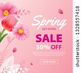 spring sale banner with... | Shutterstock .eps vector #1328557418
