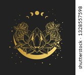 golden lotus flower on black...   Shutterstock .eps vector #1328557598
