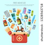 first aid kit list banner ... | Shutterstock .eps vector #1328563718