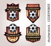 golden soccer or football badge ...   Shutterstock .eps vector #1328590805