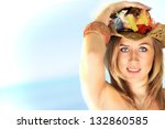 beautiful blond happy woman ... | Shutterstock . vector #132860585