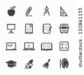 education icons with white... | Shutterstock .eps vector #132861155