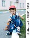 Preschooler Boy Learning To Tie ...