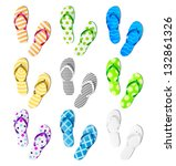 summer colorful flip flops set | Shutterstock .eps vector #132861326