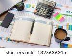 open leather notebook  laptop ... | Shutterstock . vector #1328636345