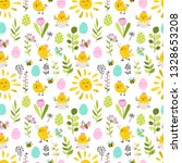 seamless pattern with easter... | Shutterstock .eps vector #1328653208