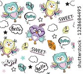cute owls on a white background ...   Shutterstock .eps vector #1328684495