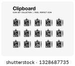 clipboard icons set. ui pixel...