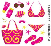 fashionable set with a swimming ... | Shutterstock .eps vector #132868958