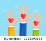 raised hands with red heart.... | Shutterstock .eps vector #1328693885