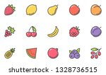 fruits vector flat line icons... | Shutterstock .eps vector #1328736515
