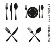 black menu flat simple icons on ... | Shutterstock .eps vector #1328750525