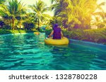 Child Floats In Lazy River