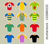 set of multicolored t shirts on ... | Shutterstock .eps vector #132880232