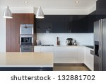 Stock photo modern new kitchen with expensive appliances 132881702