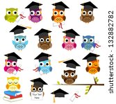 vector set of cute school and... | Shutterstock .eps vector #132882782