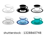 ceramic cup on a saucer  for... | Shutterstock .eps vector #1328860748