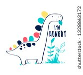 hand drawing dinosaur vector. | Shutterstock .eps vector #1328863172