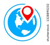 globe with map pin. travel icon   Shutterstock .eps vector #1328890232