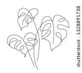 monstera leaf line art. contour ... | Shutterstock .eps vector #1328891738