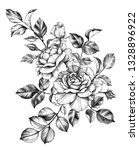 hand drawn bunch with rose... | Shutterstock . vector #1328896922