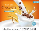 organic chocolate cereals in... | Shutterstock .eps vector #1328910458