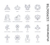 set of 16 thin linear icons... | Shutterstock .eps vector #1329006758