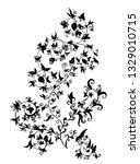 hand drawn black flower tracery ... | Shutterstock .eps vector #1329010715