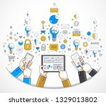 internet teamwork online team... | Shutterstock .eps vector #1329013802