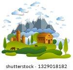 farm in scenic landscape of...   Shutterstock .eps vector #1329018182