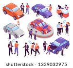 isometric icons set with people ... | Shutterstock .eps vector #1329032975