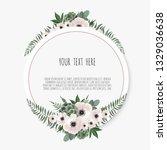 card with flower rose  leaves....   Shutterstock .eps vector #1329036638