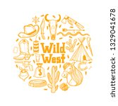 round composition with wild... | Shutterstock .eps vector #1329041678