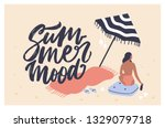 postcard template with woman... | Shutterstock .eps vector #1329079718