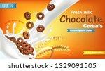 rye chocolate cereals in milk... | Shutterstock .eps vector #1329091505