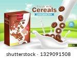 organic cereals in milk splash... | Shutterstock .eps vector #1329091508