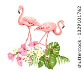 tropical birds and flowers... | Shutterstock .eps vector #1329101762