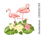 flamingo background design.... | Shutterstock .eps vector #1329101765