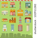 vector set with buildings icons ... | Shutterstock .eps vector #132911282