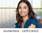 customer support woman smiling... | Shutterstock . vector #1329116312