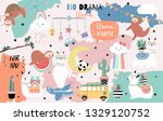 colorful hand drawn cute card... | Shutterstock .eps vector #1329120752