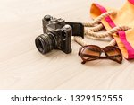 flat lay traveler accessories... | Shutterstock . vector #1329152555
