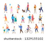 men and women with children... | Shutterstock .eps vector #1329155102