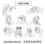 hair care steps. line style.... | Shutterstock .eps vector #1329164492