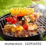 vegetarian bbq and corncob on a ... | Shutterstock . vector #132916532
