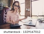 Small photo of Close up photo beautiful she her business lady work day night count financial earnings salary check information numbers understand organizer sit office chair wearing specs shirt formal wear