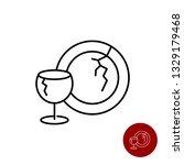 broken glass dishes icon. wine... | Shutterstock .eps vector #1329179468