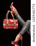 stylish red bag hanging on a... | Shutterstock . vector #1329181772