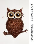 a funny owl made of roasted...   Shutterstock . vector #1329181775